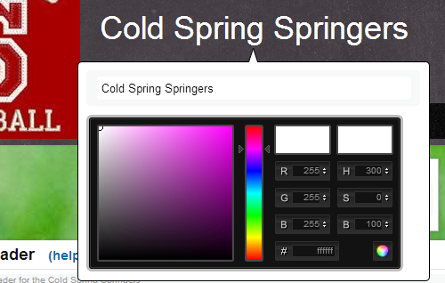 Admin header layout color